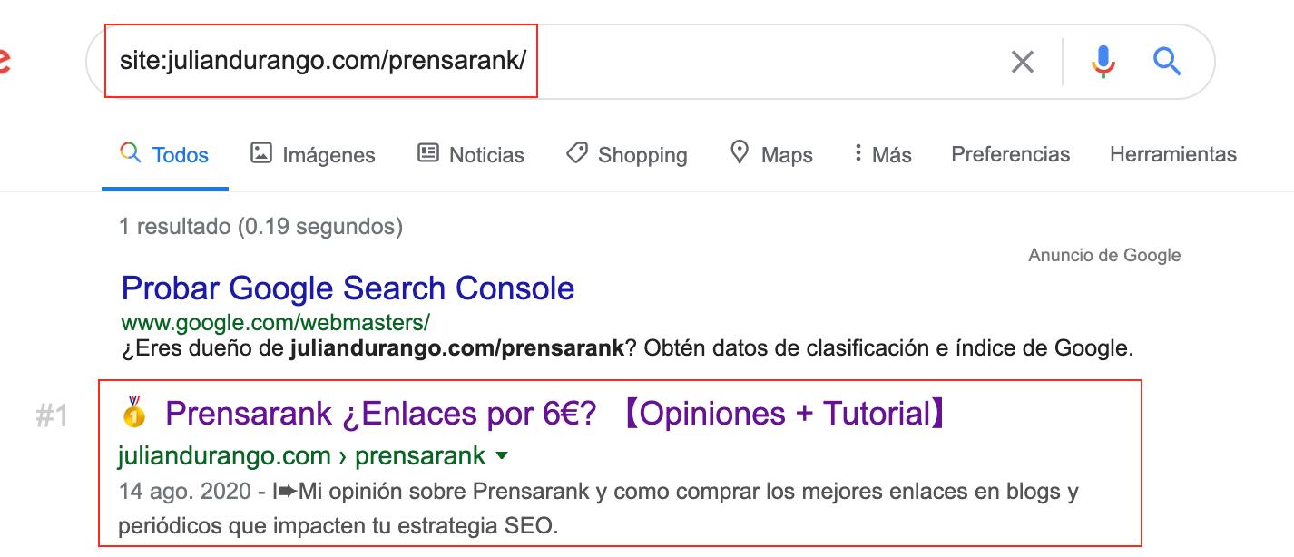 Comando site en Google