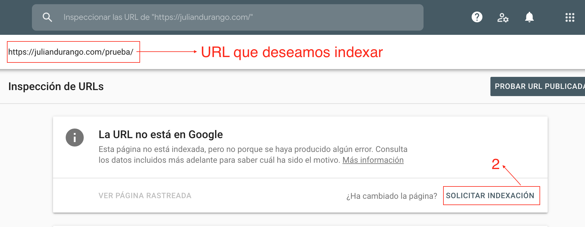 Indexar URL en Google Search Console