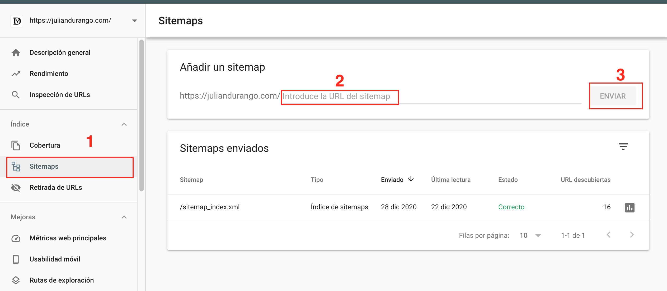 Como enviar mi Sitemap